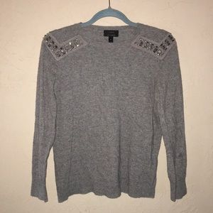 J. Crew - cashmere sweater with rhinestone beading